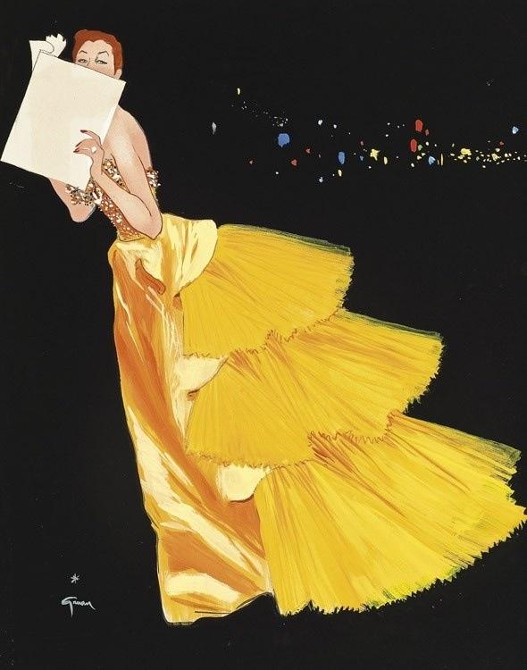 """Paris, City of Lights"" Haute Couture Illustrations - 1, by René Gruau, commissioned by Fleur Cowles for Flair magazine, circa 1950. Qu'elle glamour!"