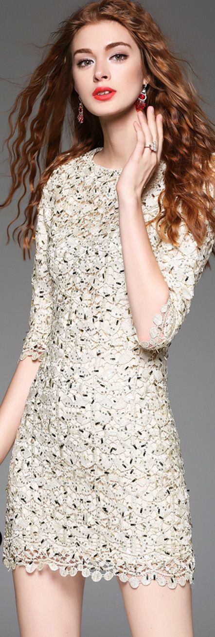 Golden Sequin Hollow Dress