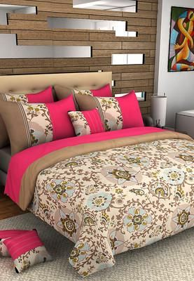 Bring serenity to your bedroom by spreading this multicoloured bed cover set from Hermoso. Featuring a floral print, this set will be a classy addirion to your bed linen collection. Made from cotton, this set is soft to touch and easy to maintain. Any item shown in the image, apart from the product/package content is for display purpose only. -www.cooliyo.com