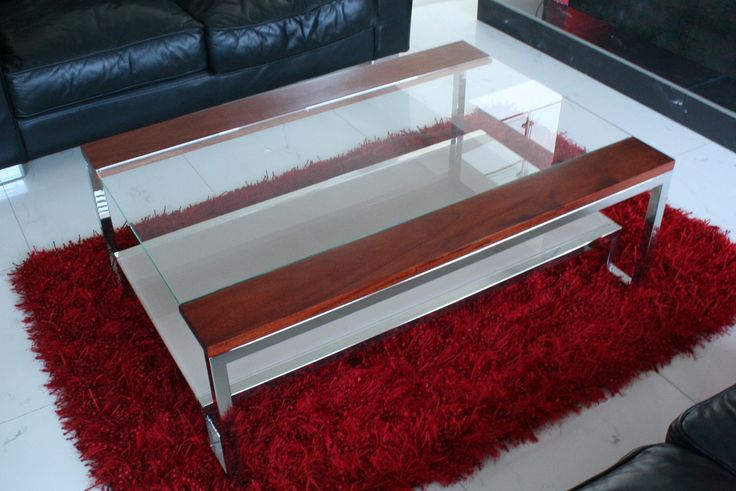 Polish steel frame, clear glass top, white glass bottom shelf, with mahogany timber trims