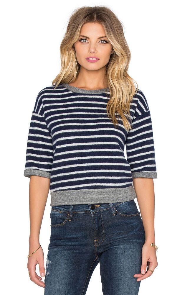 FRAME DENIM Short Sleeve Striped Crop Slouchy Tee Sweatshirt Top Navy White $140 #FRAMEDenim #BasicTee
