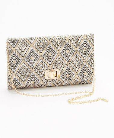 This Beige & Gold Geometric Clutch by MMS Studio is perfect! #zulilyfinds  *Now $19.99