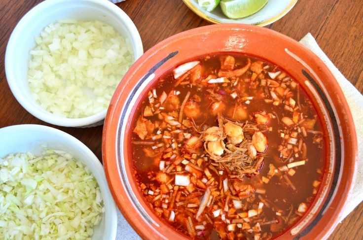 Señor Juan's pozole rojo is the best recipe for pozole you will find. Made with pork trotters and leg, ancho and guajillo chiles, and hominy