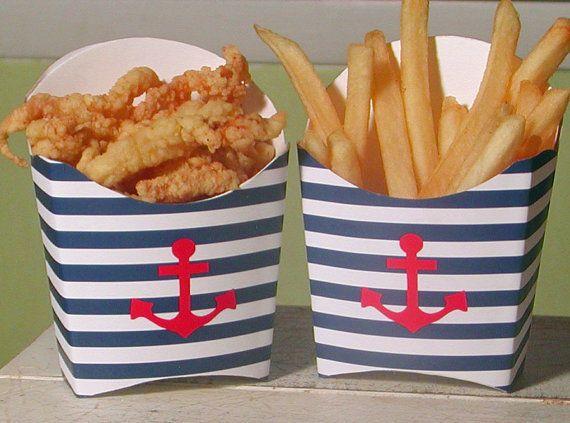 Striped Nautical Anchor Favor Box