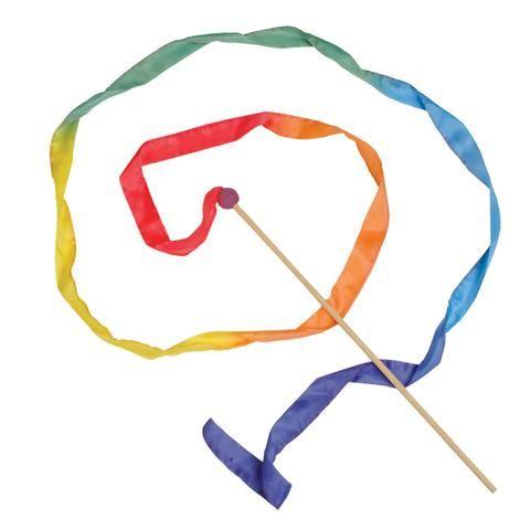 Varita de seda para jugar a crear formas. Dispone de un palo de madera de 30 cm y una fina tira de seda con los colores del arco iris, de 3 metros de longitud,