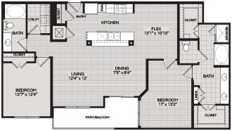 Floorplans B5 2 BEDROOM 2 BATH