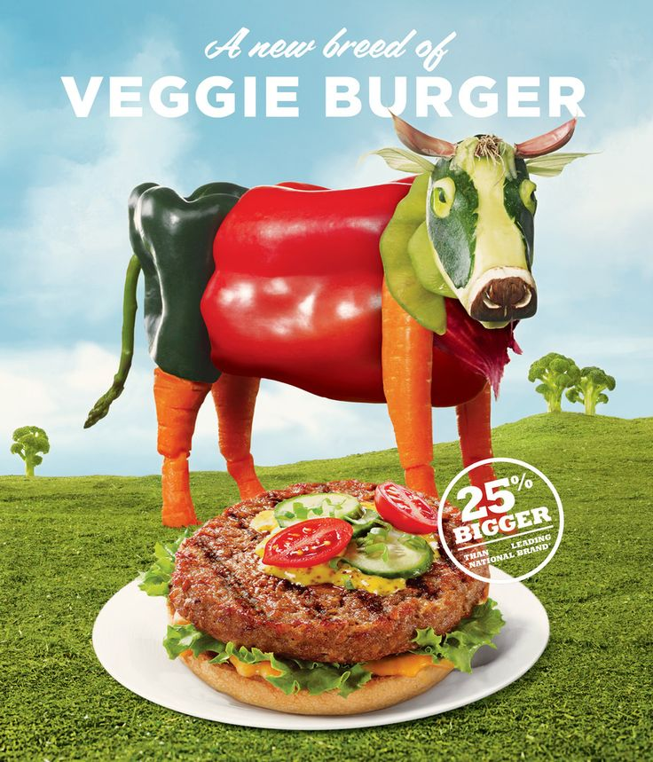 Lightlife Veggie Burger Advertisement With A Vegetable Cow
