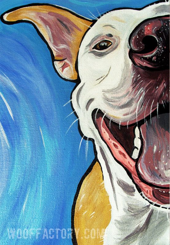 SMILING PIT BULL dog art print happy blue bright by WOOFFactory, $12.00