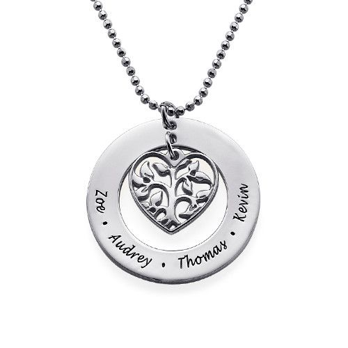 There is nothing more important to a mother than her family, which is why our Heart Family Tree Necklace is the perfect gift to give! Personalize this family tree necklace with the names of all the loved ones in your family. A mother will love always having her family close to her no matter how far they may be physically.This necklace also makes the perfect gift to give for birthdays, anniversaries, and especially Mother's Day! Our Heart Family Tree Necklace is made out of 0.925 Sterling ...