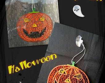 Zucca di Halloween legno e Quilling per la decorazione della finestra