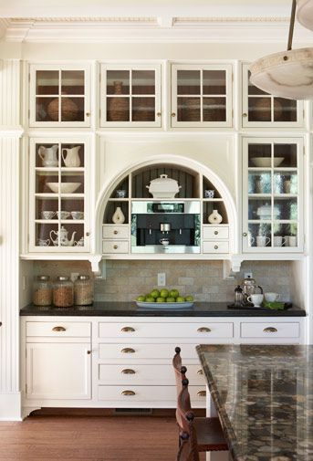 Stylish Kitchen With Glass Front Cabinets Arched Niche Find This Pin And More On Diningroom Hutch