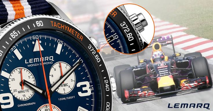 The tachymeter on the Monza Chrono reaches up to 372.6 kph, the highest speed ever measured in a Formula 1 car on the legendary track of Monza. So far.  See more at www.lemarqwatches.com
