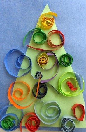 Bright and Colorful Christmas Tree Craft for kids.