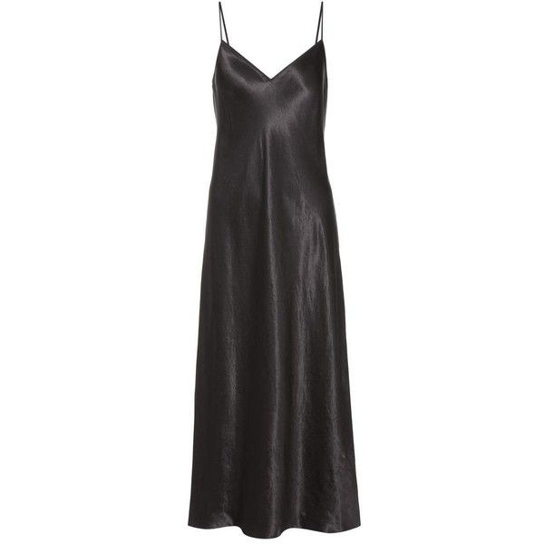 Vince Satin Slip Dress (€370) ❤ liked on Polyvore featuring dresses and black