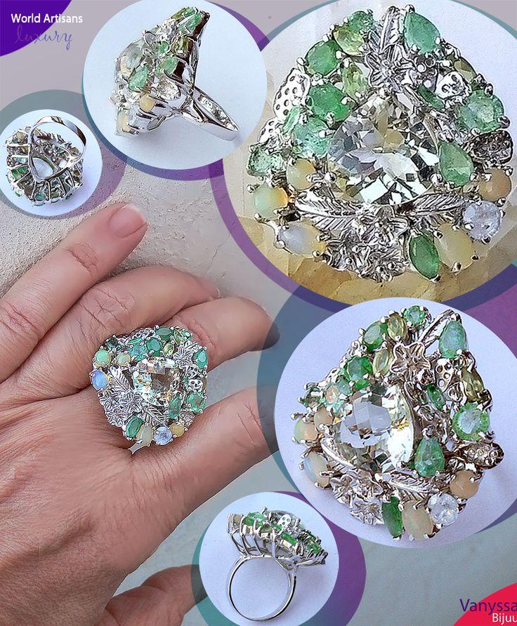 Trillion Checkerboard Cut Natural Green Brazilian Amethyst Sterling Ring