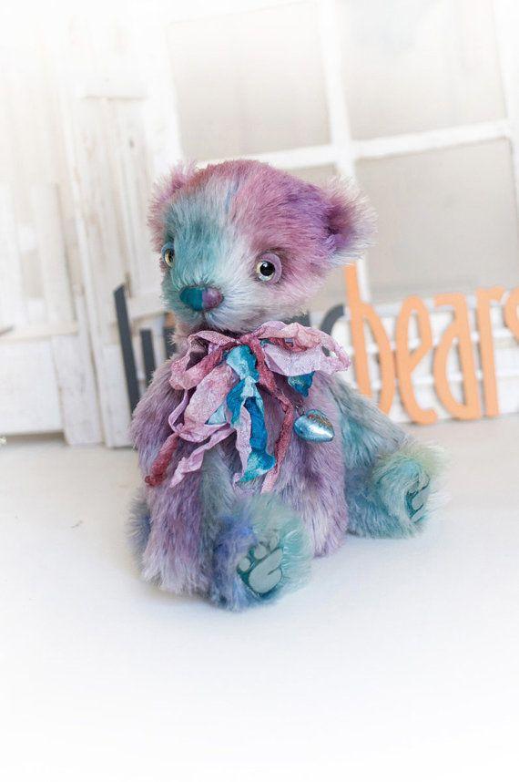 Artist bear Celestia handmade bear rainbow by LunaticShop on Etsy