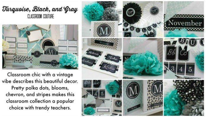 Classroom Bulletin Design ~ Turquoise aqua teal black white gray polka dots chevron