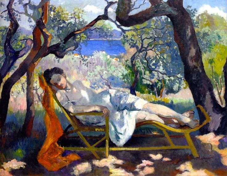 Henri Charles Manguin (French, 1874–1949) – The Nap (The Rocking Chair, Jeanne), c. 1905 (Oil on canvas, Villa Flora, Winterthur, Switzerland) – Manguin, along with Henri Matisse, André Derain, Maurice de Vlaminck, Albert Marquet and Charles Camoin, was a founder and early exponent of the Fauve movement. He had been close friends with Camoin, Matisse, and Marquet since 1895 when they were students of Gustave Moreau at the Ecole des Beaux-Arts. Their camaraderie and shared theoretical…