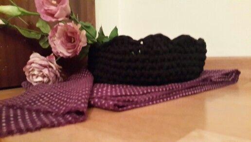 Black crochet basket
