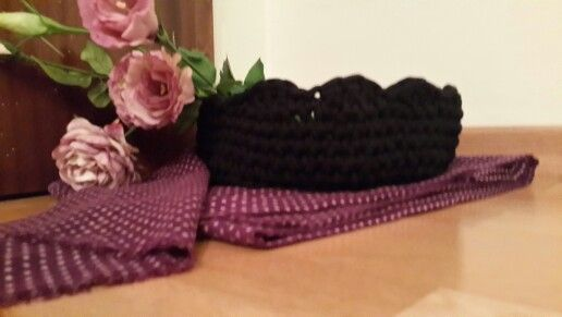 Black crochet basket