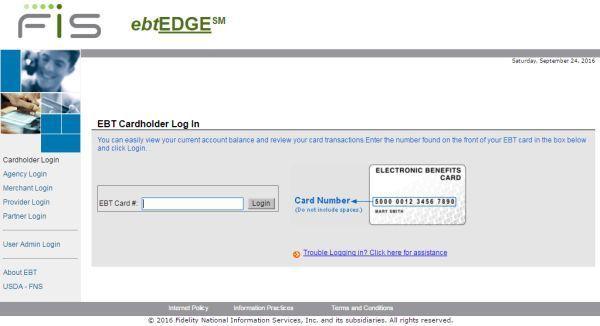 ebtEDGE Login to access EBT information