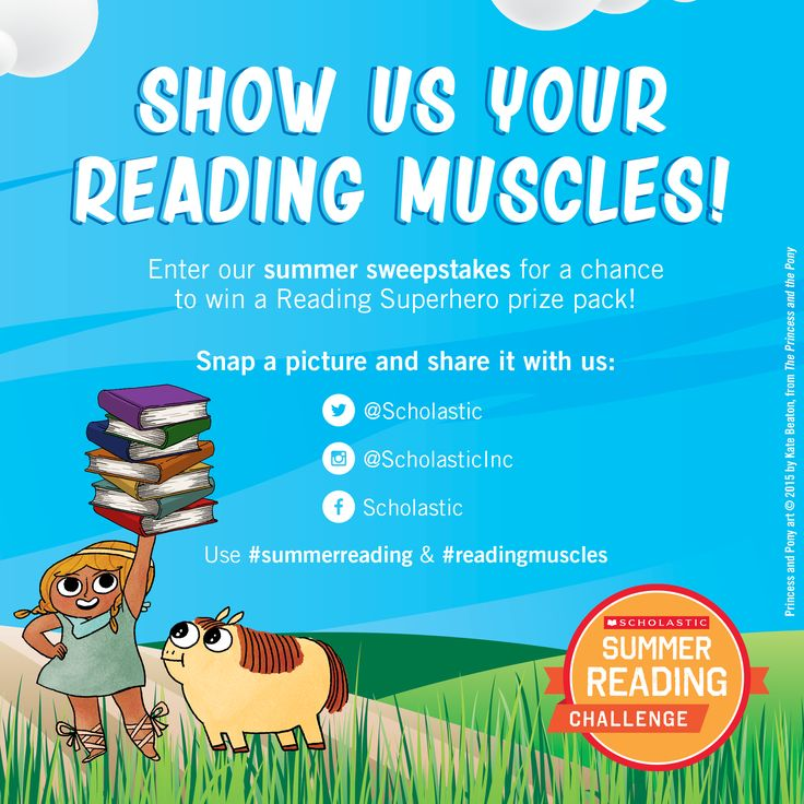 """Show us your reading muscles! Tell your students to grab a book, make a muscle, and strike a pose for the camera. Share your picture with us and you could win a """"Be a Reading Superhero"""" prize pack FULL of books! Tag us & use #summerreading and #readingmuscle in your post.   Complete legal rules: http://oomscholasticblog.com/rules/ReadingMusclesSweeps_SRC2016.pdf"""