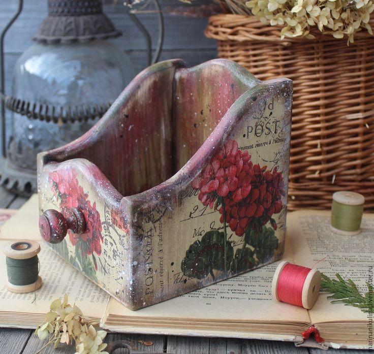 """Купить """"Душистая герань"""" короб подставка - ярко-красный, герань, красная герань, пеларгония, цветы"""