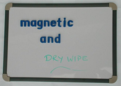 MAGNETIC DRY WIPE BOARD A3                               A sturdy board which features a metal surface with hardboard back and reinforced screwed corners. (420 x 295mm max. overall dimensions, white area 387 x 263mm). A pack of 12 A3 boards represent a significant saving when compared to the cost of an individual board. Ideal for synthetic phonics work. Can be used as a whiteboard with dry wipe pens. Magnetic letters and magnetic numbers available separately.  £7.74