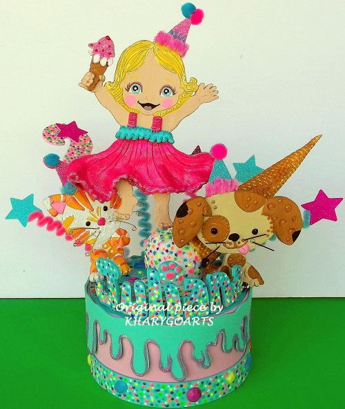 Dogs and cats Birthday cake topper Dogs Cats party centerpiece