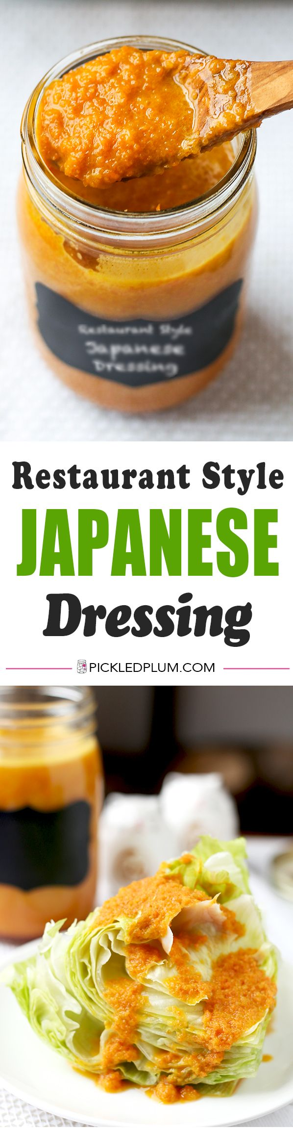 Restaurant Style Japanese Dressing - Make this iconic and delicious Japanese Restaurant Style Ginger Dressing Recipe inless than 10 minutes! Japanese food recipes | homemade salad dressing recipes | ginger carrot dressing | Japanese cuisine | pickledplum.com