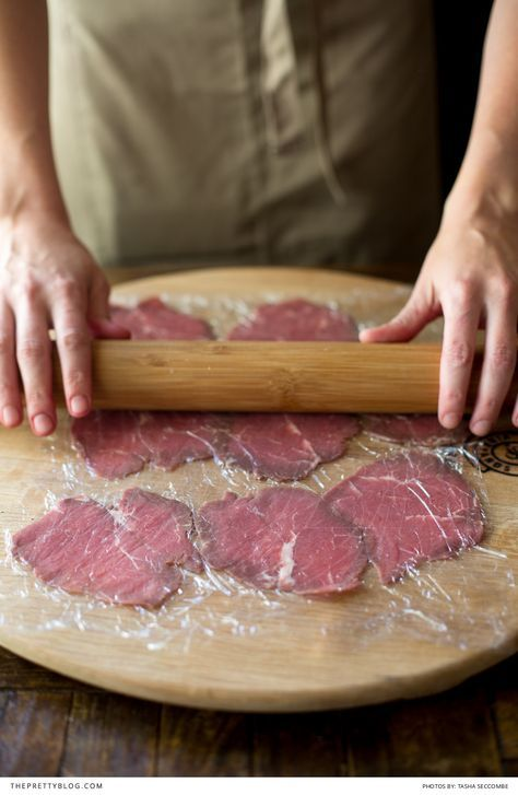 In our house, thick mature steaks and large meat-cuts are saved for special occasions, like anniversaries or for family gatherings. I do love meat, but red meat is not something I would be able to eat every day. That being said, something like beef carpaccio is such an easy dish to make - if you're in the mood to entertain, that is. for a starter portion about 80g of meat per person is enough, so it works out much cheaper than you might think. It is by no means laborious, has no cooking…