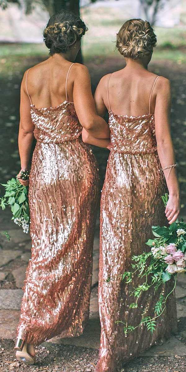 18 Full On Glitz Sequined & Metallic Bridesmaid Dresses ❤ See more: http://www.weddingforward.com/sequined-metallic-bridesmaid-dresses/ #wedding #dresses #bridesmaid
