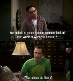 I laugh because Leonard is right, people shouldn't call the cops for that.  But I understand Sheldon's concern, it's his WoW account!: Bigbangtheory, Sheldon, World Of Warcraft, Quality, Funny Stuff, Bangs, The Big Bang Theory