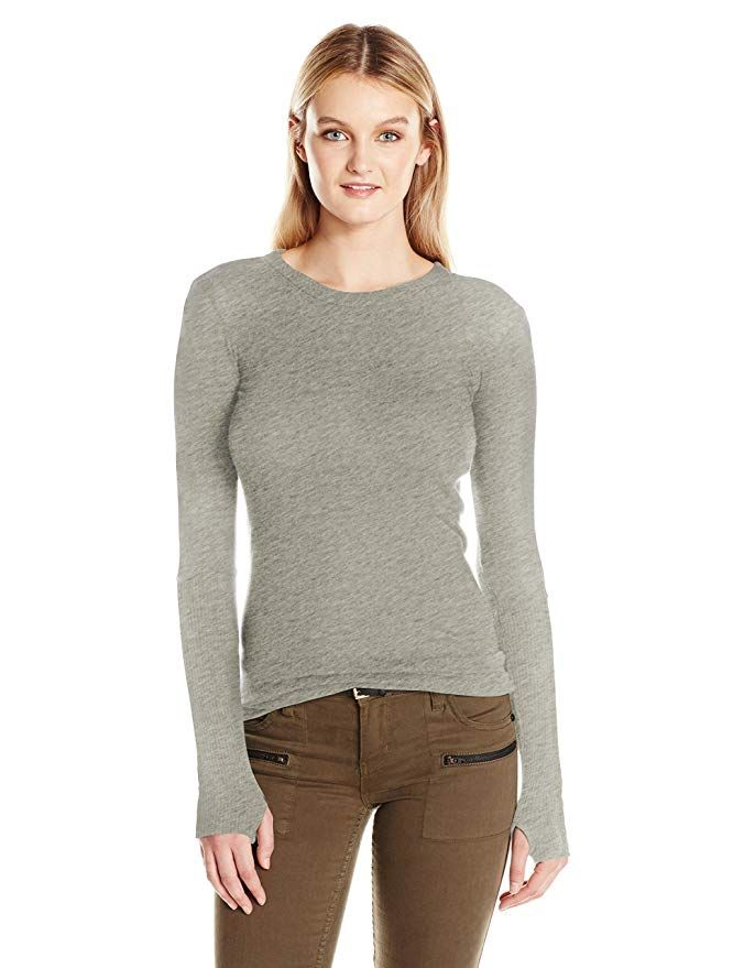 5bcdfdad64e75e Enza Costa Women s Cashmere Long Sleeve Cuffed Crew with Thumbhole ...