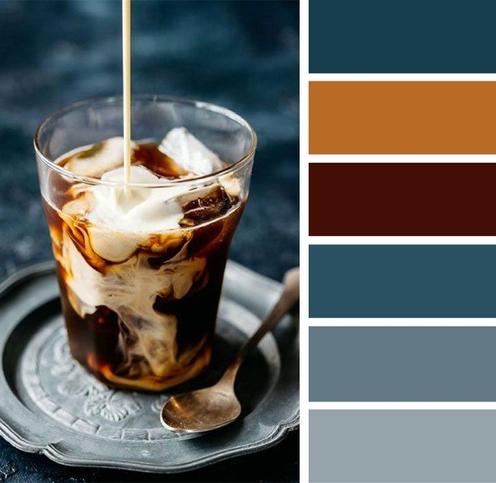 Dark blue and caramel color palette #colorpalette