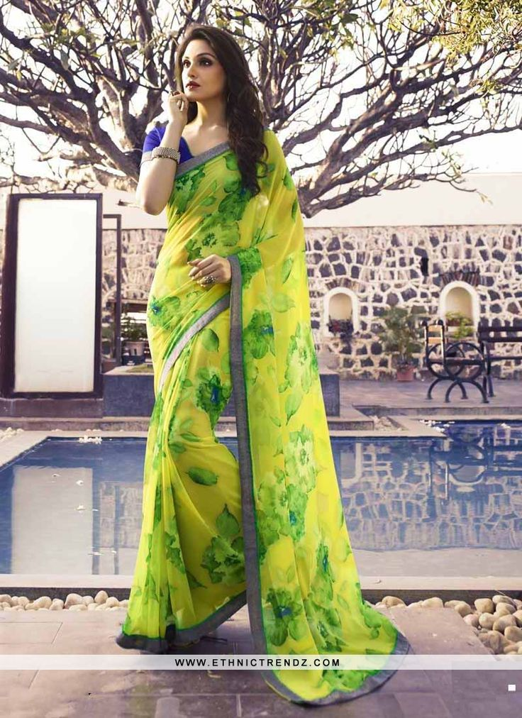 Be the sunshine of everybody's eyes dressed in such a beautiful yellow georgette casual saree. This attire is displaying some really mesmerizing and creative patterns embroidered with print work. Co...