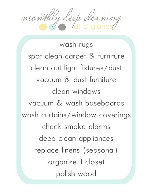 Monthly Deep Cleaning, this will be a good list to keep a nice clean house once im out out on my own!!!