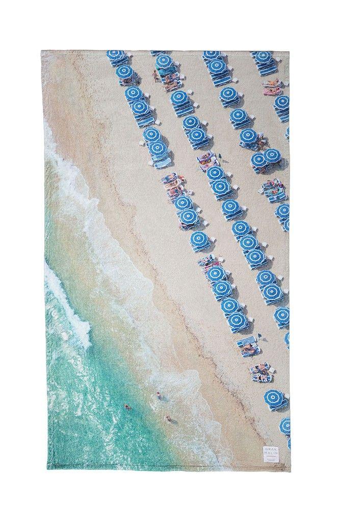St. Tropez Blue Umbrellas Oversize Beach Towel