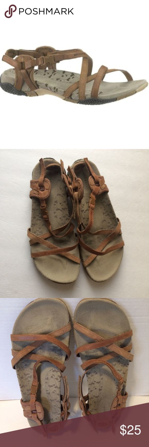 Merrell San Remo Sandal Tan strappy with Velcro closing. There is wear all over the shoes but still in really good condition. Tiny stain or two. Bottom sole in good condition as well. I would keep but too big for me. Nice & comfortable everyday Sandal. Please ask questions. Merrell Shoes Sandals