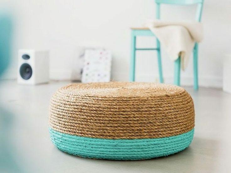 Fabriquer un pouf en cordages à partir d'un vieux pneu -                                                                                                                                                      Plus