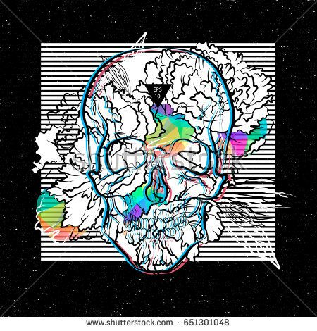 Stylish print for t-shirt. Skull and peones. Electroacoustic music. Concrete music. Dark ambient. Vector illustration EPS10.