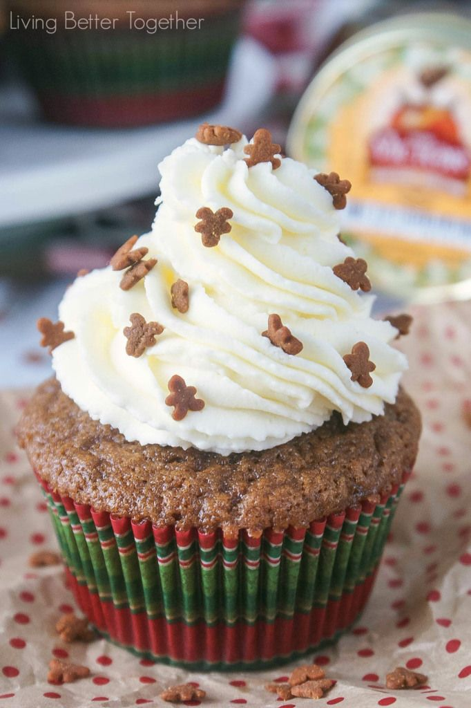 Fluffy gingerbread cupcakes topped with a silky honey buttercream frosting and finished off with sprinkles! #HoneyForHolidays #DonVictor #Ad