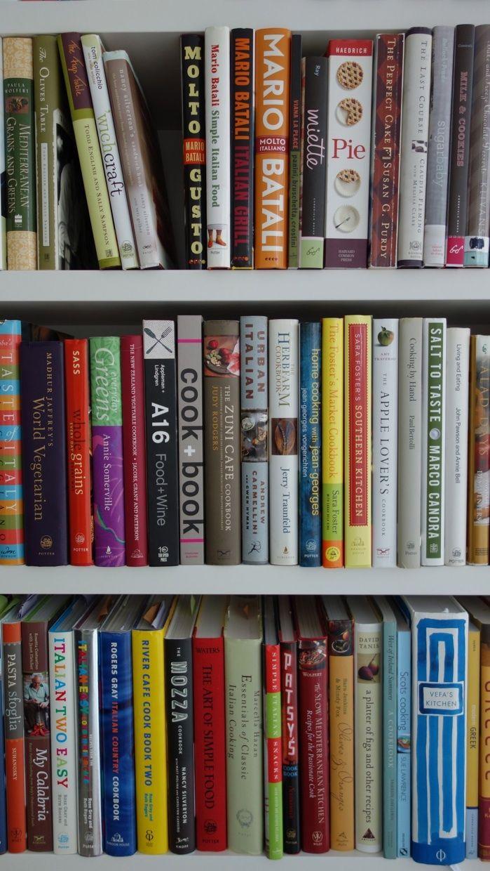 Alexis Stewart's cookbook shelf