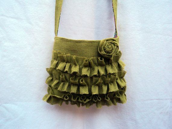 Crossbody Bag in Burlap Avocado Green by theruffleddaisy on Etsy, $48.00