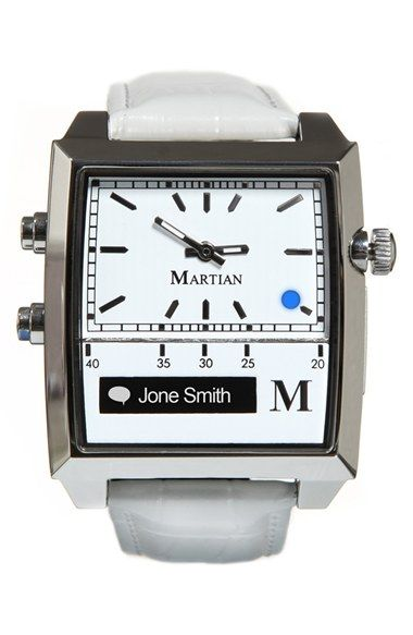 Martian Smartwatch Martian Watches 'Passport' Rectangle Silicone Strap Smart Watch, 37mm x 39mm available at #Nordstrom