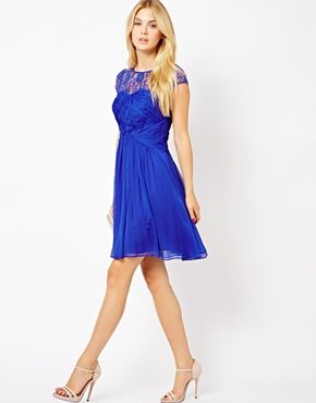 cobalt blue lace dress with full skirt
