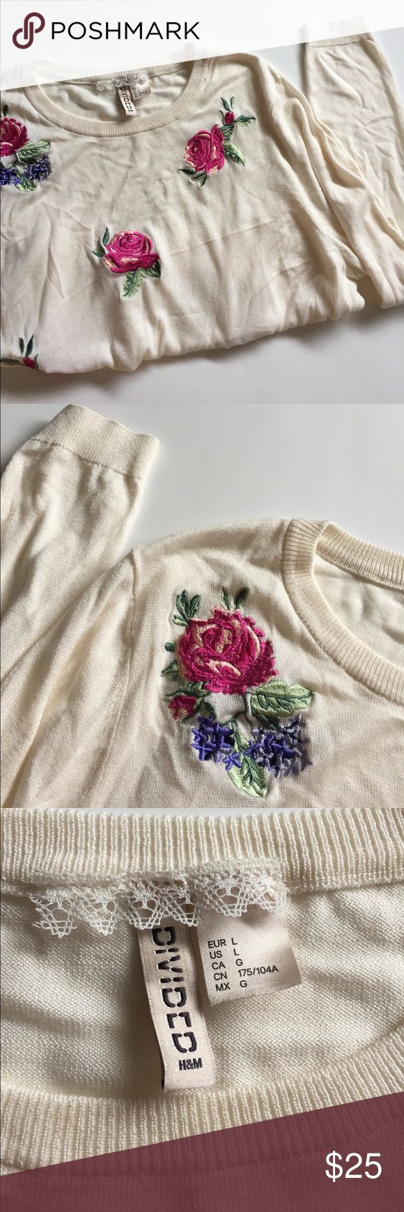 Floral Embroidered Cream Crop Top H&M Floral Embroidered cream colored long sleeve crop top , size large. Brand new , no flaws , no trades ! Perfect to pair with some high Waisted jeans and some converse for a cute spring look ❤️ H&M Tops Crop Tops