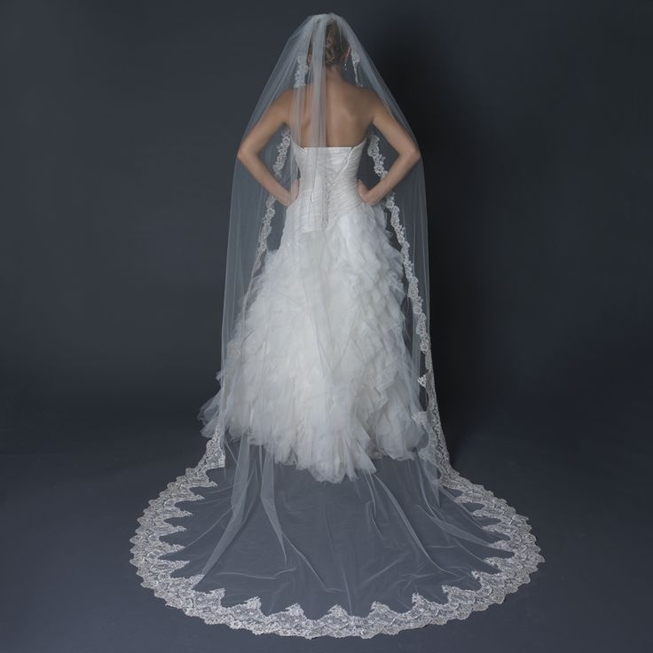 Extraordinary Cathedral Length Wedding Veil With Scalloped Silver Lace Embroidery