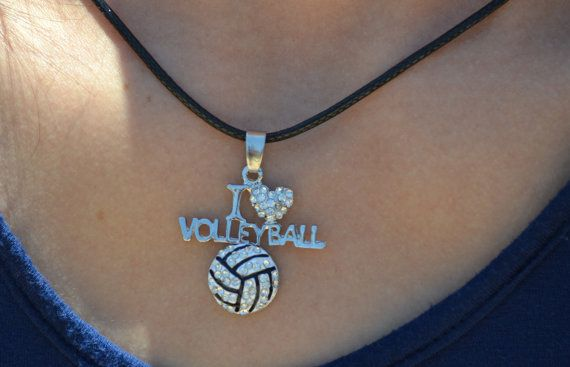Volleyball Jewelry, Volleyball Necklace, I Heart Volleyball Necklace, Girls Volleyball Necklace, Volleyball Gifts, Volleyball Girl Jewelry    We