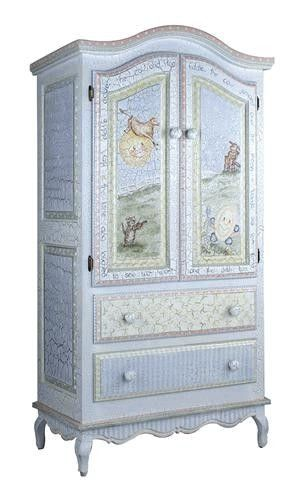 This hand-painted Nursery Rhymes French Armoire coordinates with the sleigh crib and changing table that we also offer as well as over 100 piece that can be custom made to order. It measures 74